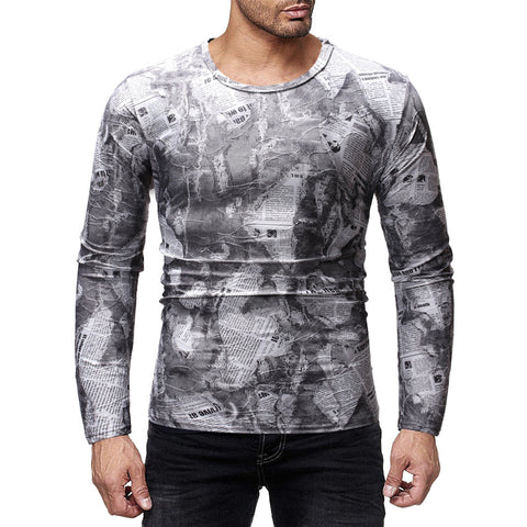 MENSCASE - long sleeve long camouflage T-shirt