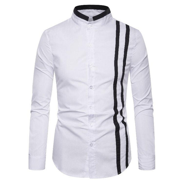 MANFLARE-Men's new plain casual stand collar striped shirt