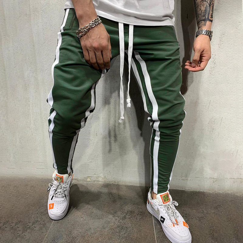 Men's Striped Patchwork Sports Casual Pants