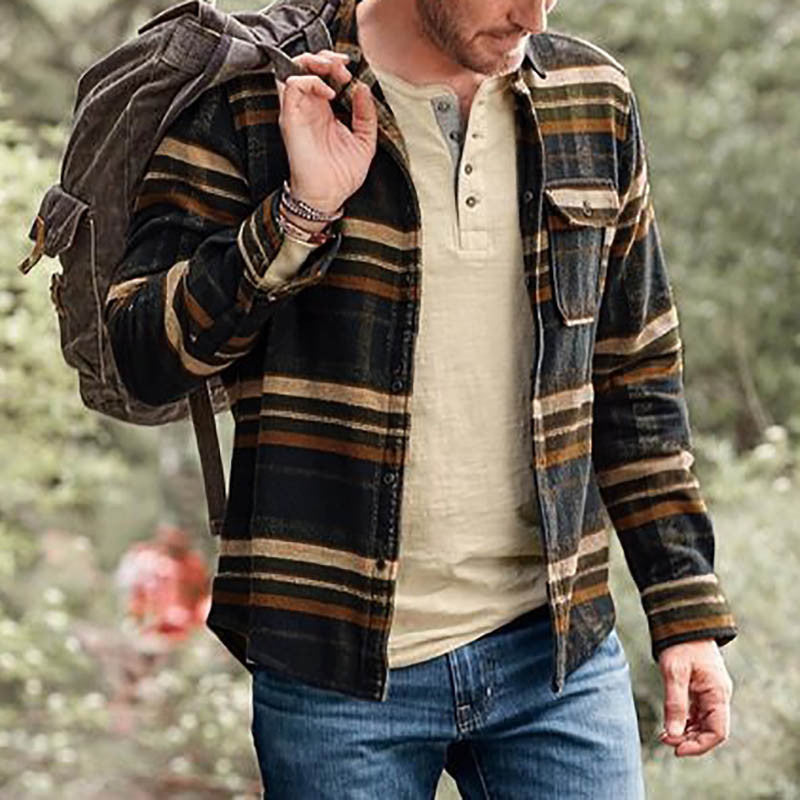 Men's Fashion Casual Striped Long Sleeve Printed Shirt Jacket