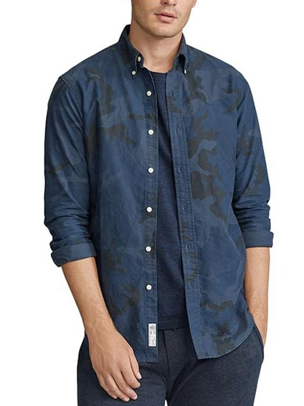 Mens fashion casual camouflage print lapel shirt