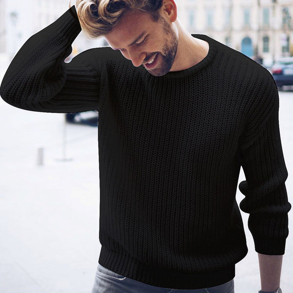 Men's fashion casual plain long sleeve round neck sweater