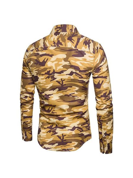 Mens camouflage casual lapel hooded cotton coat