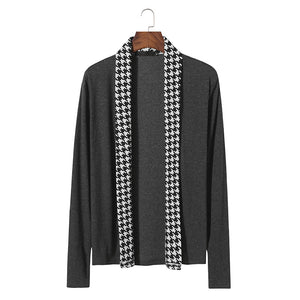 Men's fashion houndstooth placket sweater coat