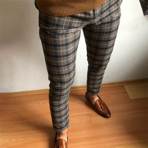 Mens Fashion Casual Striped Print Cropped Feet Suit Pants