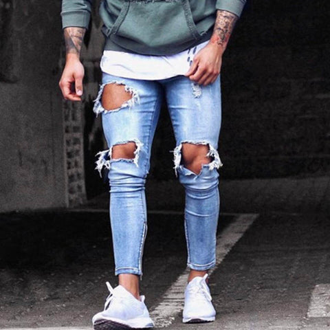 Mens new plain fashion knee hole zipper small feet jeans