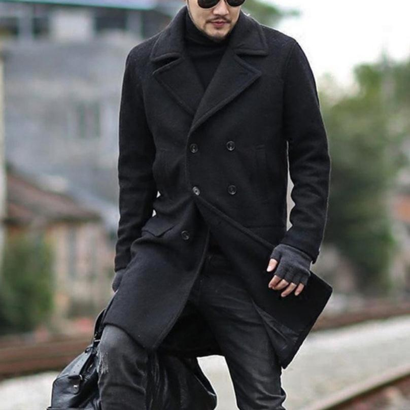 Men's fashion business double-breasted woolen coat jacket