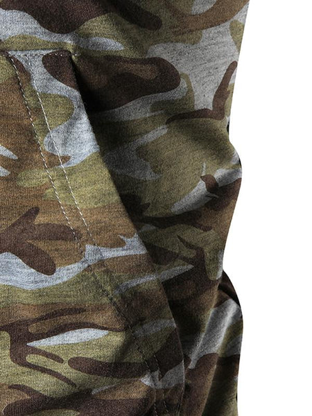 Mens personalized camouflage hooded drawstring long-sleeved sweater