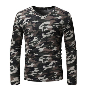Men's fashion casual camouflage V-neck long sleeve T-shirt