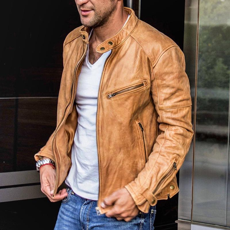 Mens fashion PU motorcycle jacket