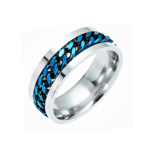KNIGHTLD - Mens rotatable titanium steel chain jewelry ring