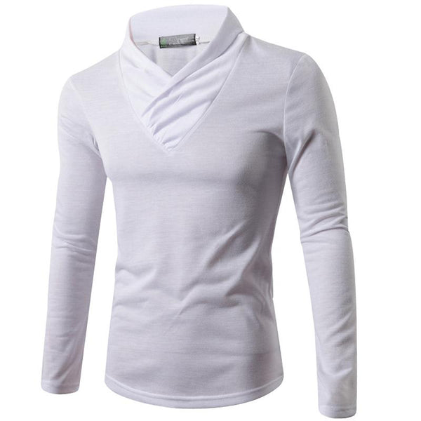 Men's casual pile collar long sleeve T-shirt