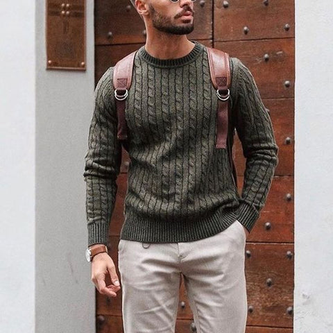 Men's fashion casual plain round neck long sleeve pullover sweater