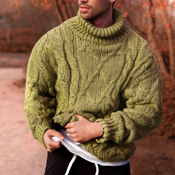 Men's fashion plain high neck knitted sweater