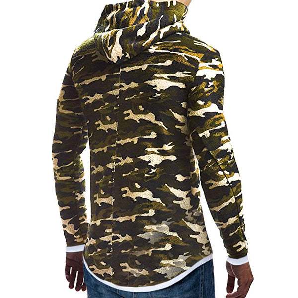 Men's fashion casual camouflage fake two-piece hooded sweater