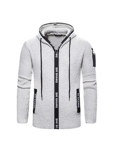 Men's Fashion Zipper Hooded Sweater Jacket