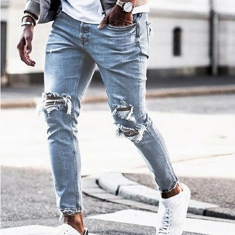 MENSCASE - Men's new plain fashion casual wild ripped jeans