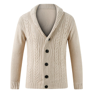 Men's fashion casual plain lapel knitted jacket
