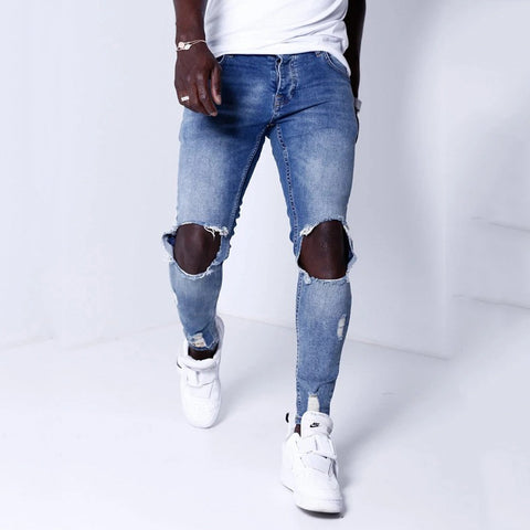 Men's new plain fashion personality denim pants