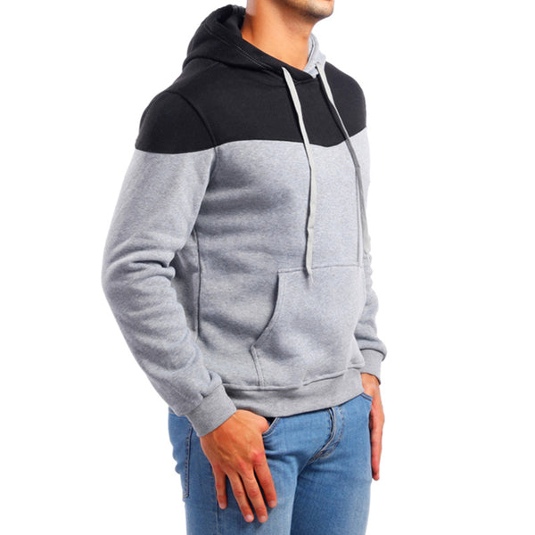 Men's fashion color block casual long sleeve hoodies