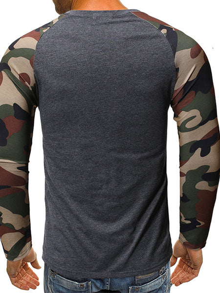Tapmeo® Mens camouflage pocket stitching casual long-sleeved t-shirt