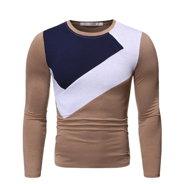 Men's fashion color contrast round neck long sleeve T-shirt