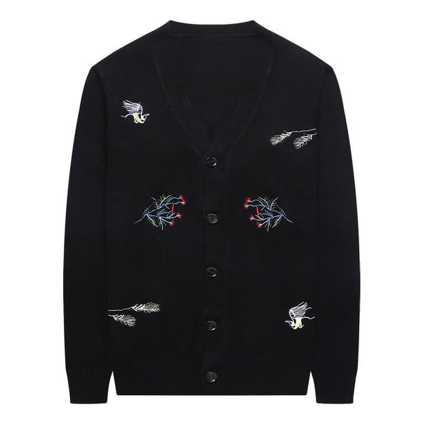 Men's casual embroidered printed knitted cardigan jacket