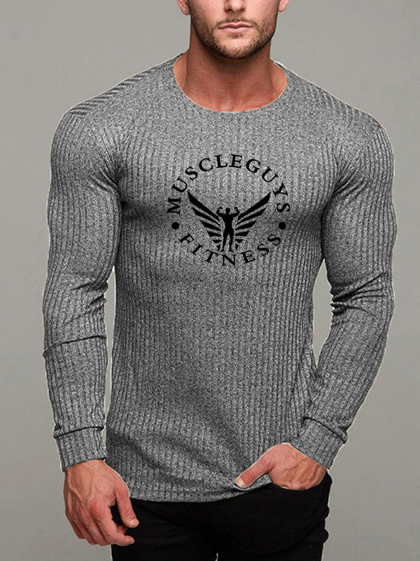 Mens sports and leisure slim round neck sweater