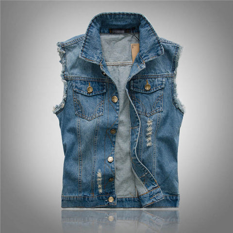 MENSCASE - Men's plain fashion personality ripped vest denim jacket