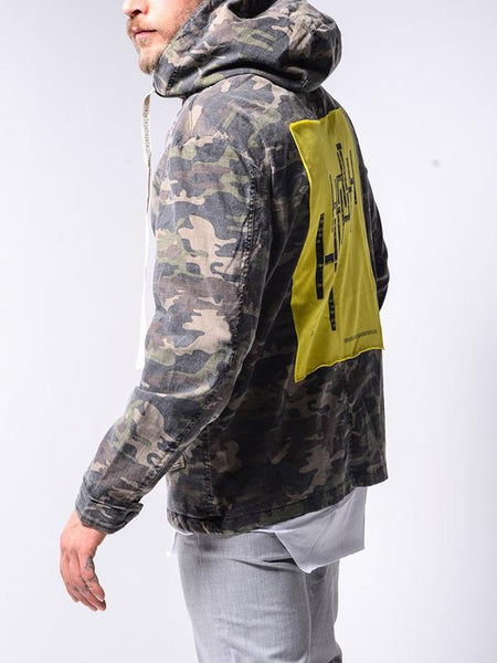Mens casual denim camouflage hooded jacket