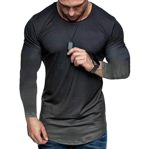 Men's Washed Old Printed Gradient Long Sleeve T-shirt