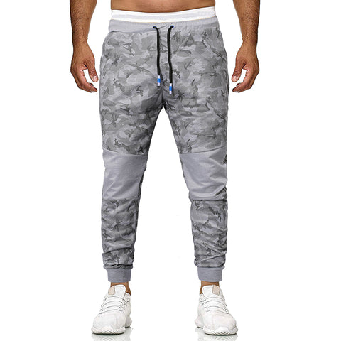 Mens fashion camouflage tether belt color-block trousers