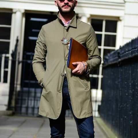 Men's fashion casual lapel single-breasted trench coat