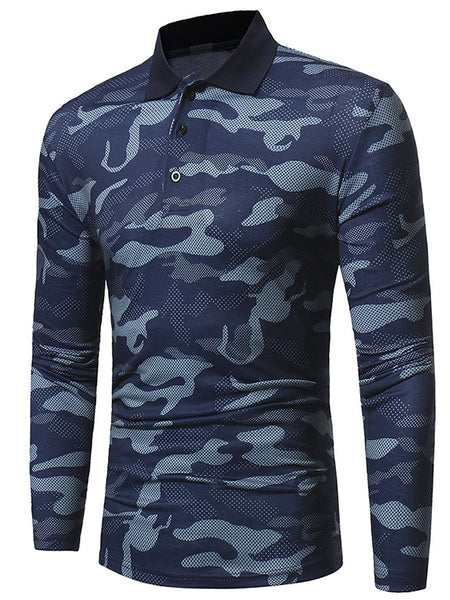 Tapmeo® Mens Camouflage Casual Lapel Long Sleeve T-shirt