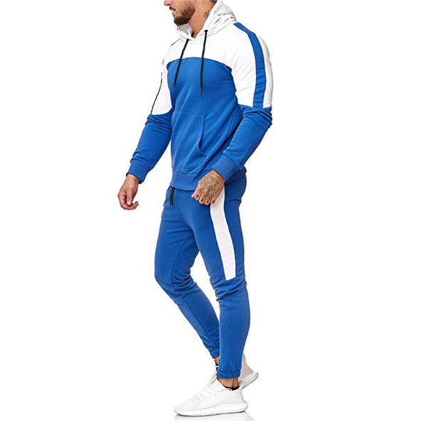 Mens casual sports color matching hooded two-piece suit