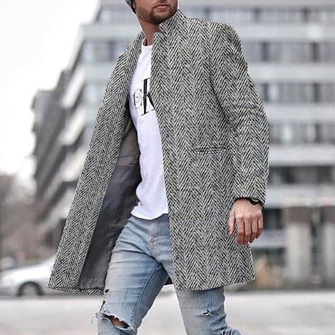 Men's fashion plaid lapel single-breasted trench coat