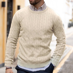 Men's Plain O-neck Knitted Long Sleeve Sweater