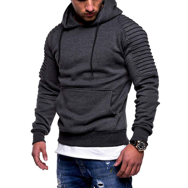 Men's fashion striped pleated raglan sleeve pullover sweater