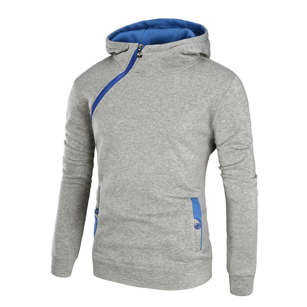 Men's casual contrast color hooded diagonal zipper sweater coat