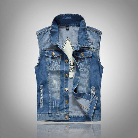 MANFLARE - Men's plain fashion personality ripped vest denim jacket