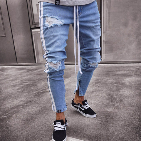Mens new plain fashion trend ripped stretch-leg jeans
