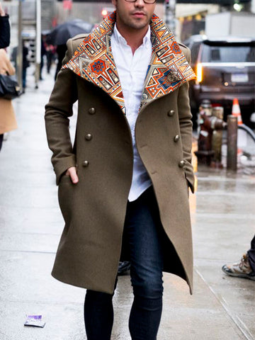 Men's Fashion Poker Print Patchwork Woolen Blend Coat