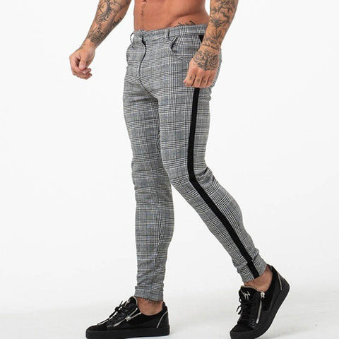 Men's new plain fashion casual small feet plaid trousers