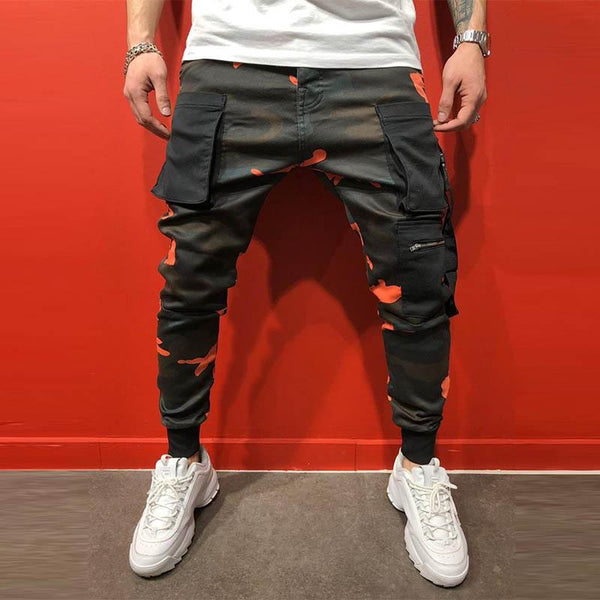MANFLARE - Men's new plain fashion sports slim printed trousers