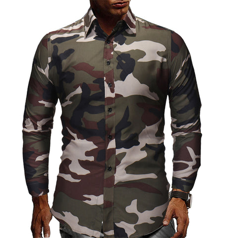 Men's fashion casual camouflage long sleeve shirt