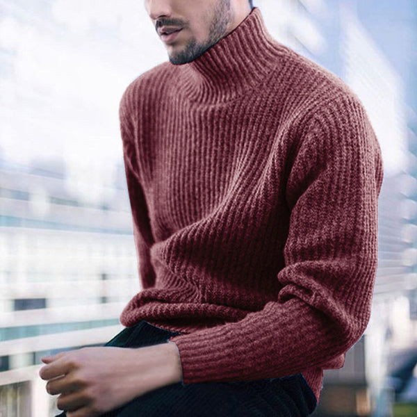 Men's fashion high neck plain knitted sweater