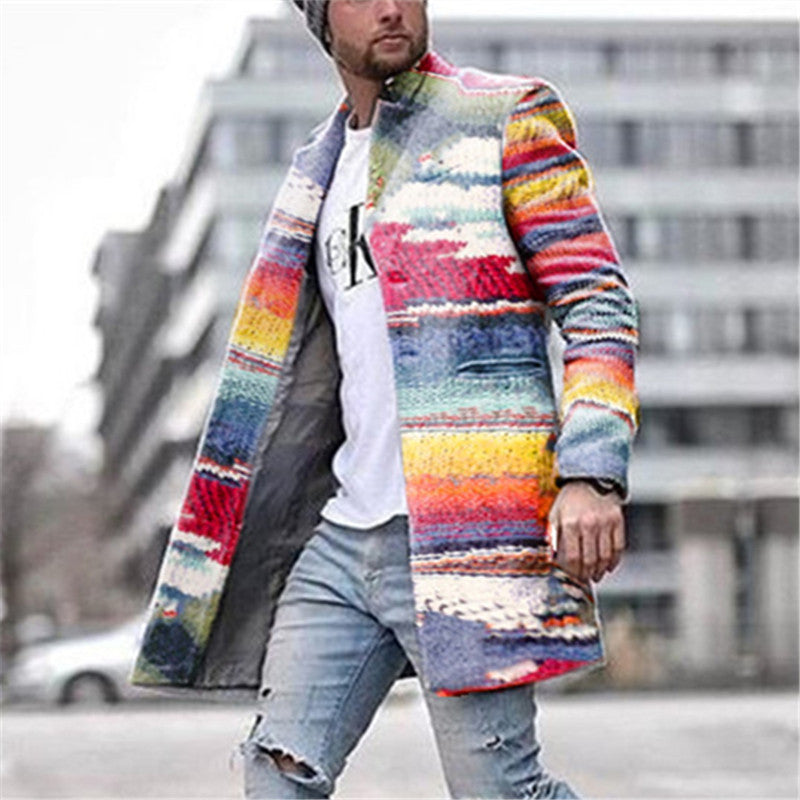 Men's fashion color matching personality rainbow coat