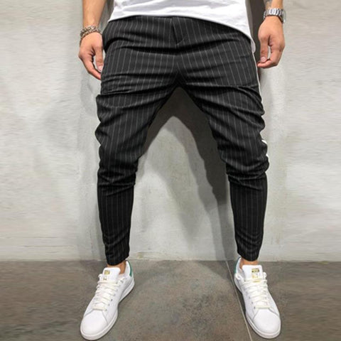 Men's Casual Pants Small Foot Stripes Pants