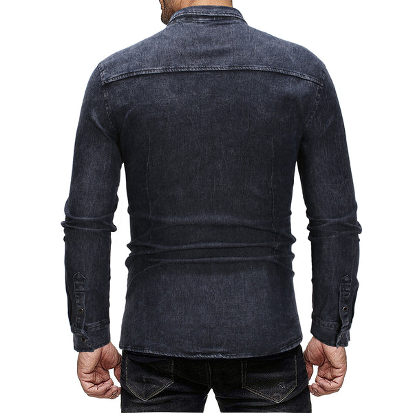 Men's fashion casual denim long sleeve shirt