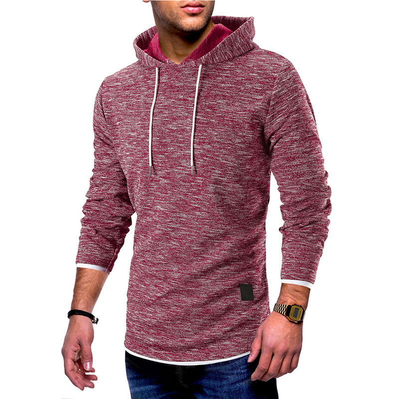 Men's New Plain Fashion Casual Long-sleeved Hooded Sweater